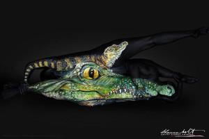 māksla no cilvēkiem krokodils